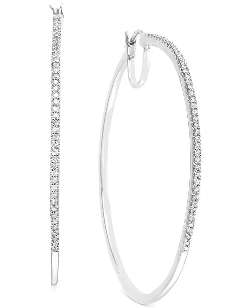 Macy's Diamond Oversized Hoop Earrings in 14k Gold over Sterling Silver or Sterling Silver (1/2 ct. t.w.)