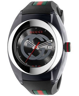 Gucci Sync Unisex Swiss Black Striped Rubber YA137101