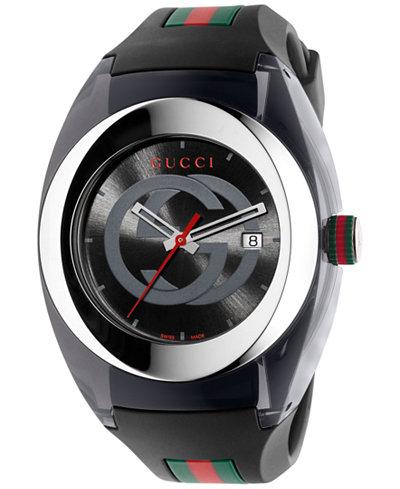 Gucci Sync Unisex Swiss Black Striped Rubber Strap Watch 46mm YA137101