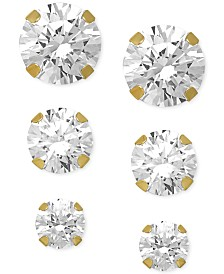 Swarovski Zirconia Round Stud Earrings Set in 14k Gold (3/8-1-3/4 ct. t.w.)