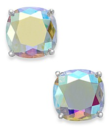 Silver-Tone Faceted Abalone Square Stud Earrings