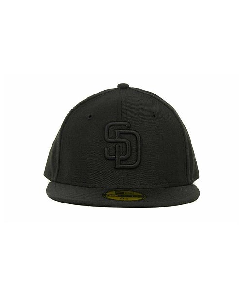 detailed look c2ce5 8262c New Era. Kids  San Diego Padres MLB Black on Black Fashion 59FIFTY Cap. Be  the first to Write a Review. main image  main image  main image ...