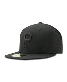 New Era Kids' Pittsburgh Pirates MLB Black on Black Fashion 59FIFTY Cap