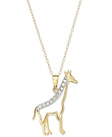 Diamond Giraffe Pendant Necklace in 18k Gold over Sterling Silver (1/10 ct. t.w.)