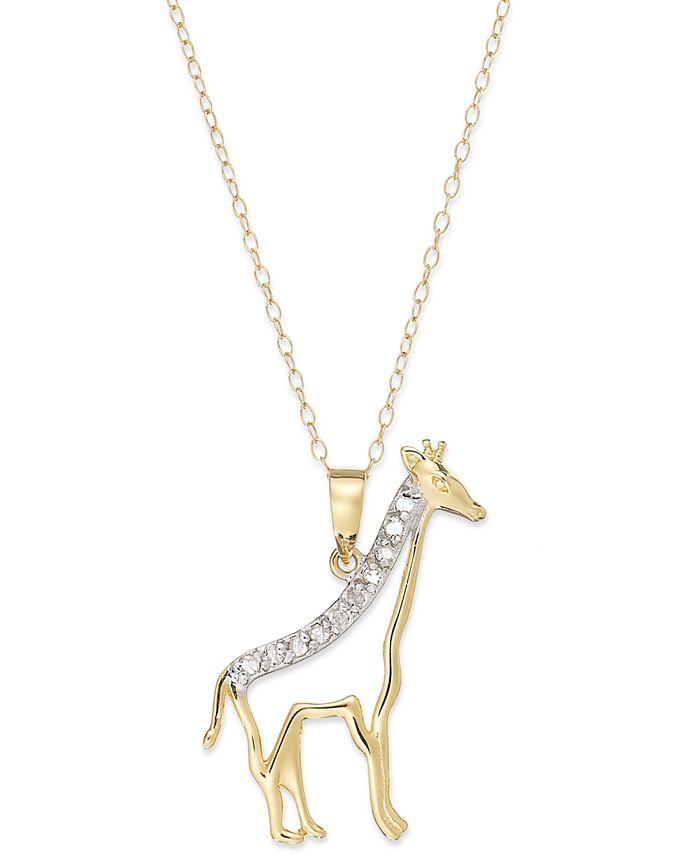 Macy's - Diamond Giraffe Pendant Necklace in 18k Gold over Sterling Silver (1/10 ct. t.w.)