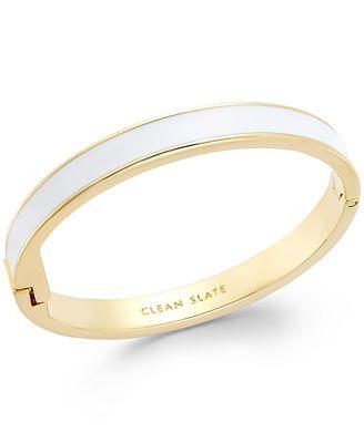 kate spade new york Gold-Tone White Clean Slate Idiom Bangle Bracelet