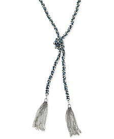 Silver-Tone Woven Blue Twisted Tassel Lariat Necklace