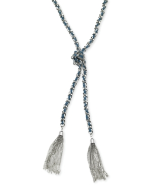 Guess  SILVER-TONE WOVEN BLUE TWISTED TASSEL NECKLACE