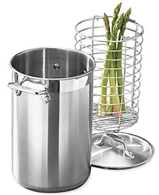 Stainless Steel Covered Asparagus Pot with Basket Insert