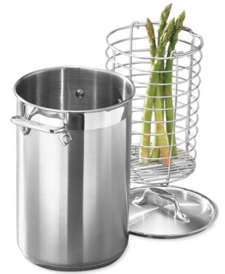 allclad stainless steel covered asparagus pot with basket insert