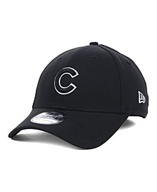 Chicago Cubs Black and White Classic 39THIRTY Stretch-Fitted Cap