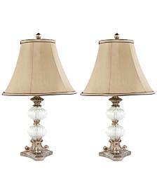 Set of 2 Scarlett Glass Globe Table Lamps