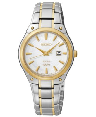 Image of Seiko Women's Solar Two-Tone Stainless Steel Bracelet Bracelet Watch 30mm SUT128
