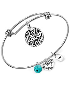 Live Laugh Love Charm and Manufactured Turquoise (8mm) Adjustable Bangle Bracelet in Stainless Steel