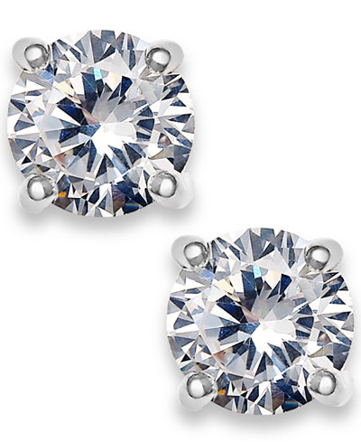 Charter Club Silver-Tone Cubic Zirconia Round Stud Earrings