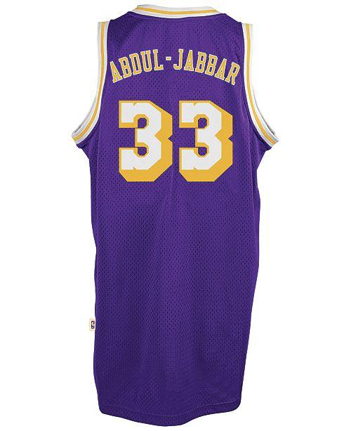 9caf7178685 ... adidas Men s Kareem Abdul-Jabbar Los Angeles Lakers Retired Player  Swingman Jersey ...