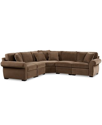 Trevor fabric 5 piece 117quot l shaped sectional sofa for Cody fabric 5 piece l shaped sectional sofa