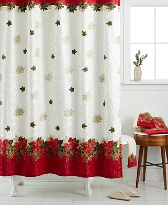 Lenox Holiday Poinsettia Tartan Shower Curtain Bath