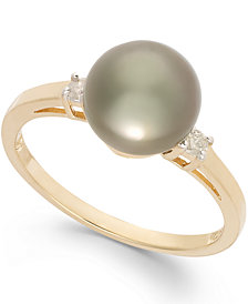Tahitian Pearl (8mm) and Diamond Accent Ring in 14k Gold