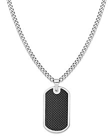 Sutton Stainless Steel and Black Carbon Fiber Dog Tag Necklace