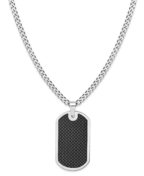 Sutton by Rhona Sutton Sutton Stainless Steel and Black Carbon Fiber Dog Tag Necklace