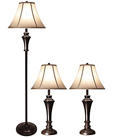 Aged Bronze Steel Set of 3: 2 Table Lamps and 1 Floor Lamp