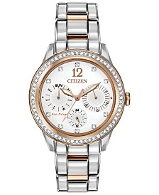 Citizen Women's Chronograph Eco-Drive Silhouette Crystal Two-Tone Stainless Steel Bracelet Watch 37mm FD2016-51A