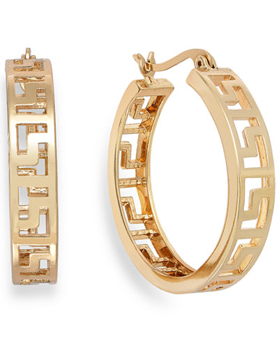 Charter Club Gold-Tone Greek Key Hoop Earrings