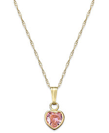 Children's Pink Cubic Zirconia Heart Pendant Necklace in 14k Gold
