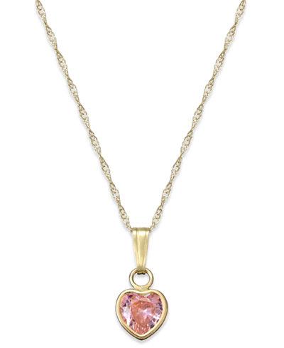 Children's Pink Cubic Zirconia Heart Pendant Necklace in 14k Gold