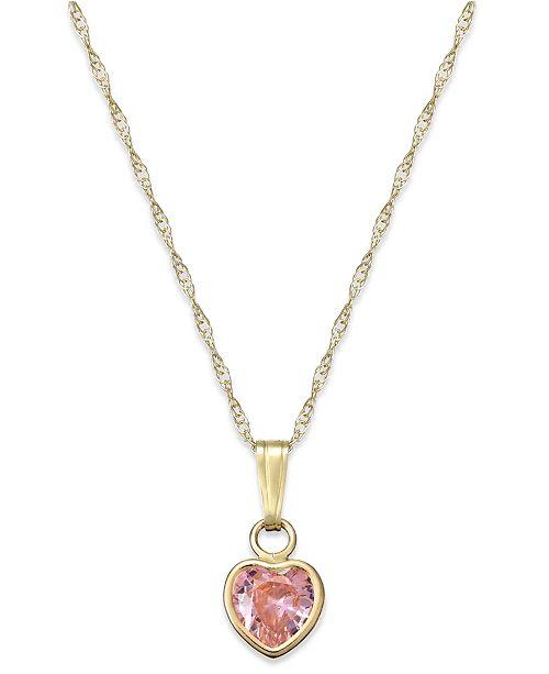 Macy's Children's Pink Cubic Zirconia Heart Pendant Necklace in 14k Gold