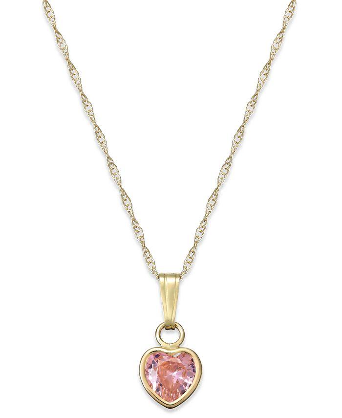Macy's - Children's Pink Cubic Zirconia Heart Pendant Necklace in 14k Gold