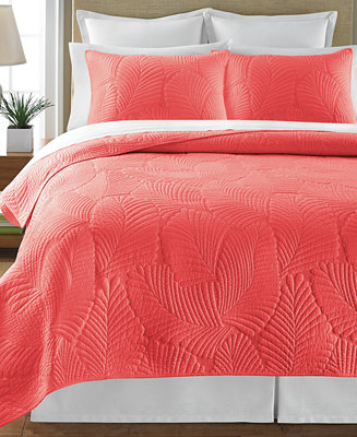 Martha Stewart Collection Atlantic Palm Coral Quilts