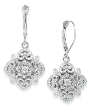 Wrapped in Love Diamond Vintage Drop Earrings in 14k White Gold (3/4 ct. t.w.) plus size,  plus size fashion plus size appare