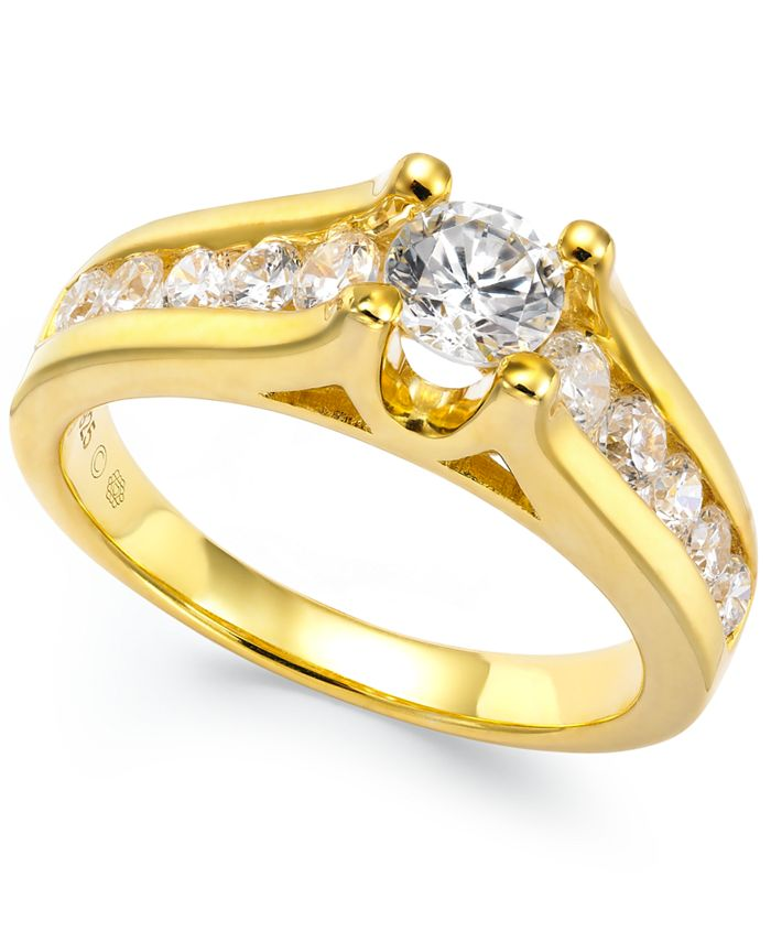 Macy's - Certified Diamond Channel Engagement Ring in 14k White Gold (1 ct. t.w.)