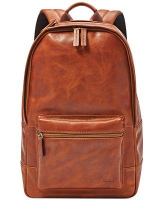 Fossil Estate Leather Backpack - Bags & Backpacks - Men - Macy's