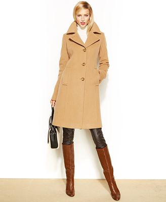Anne Klein Wool-Cashmere-Blend Notched-Collar Walker Coat - Coats ...