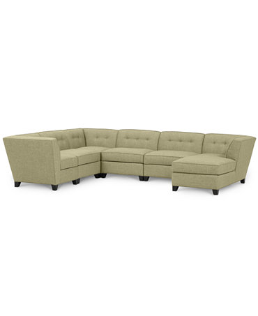 Harper fabric 6 piece modular chaise sectional sofa for Harper fabric modular sectional sofa 6 piece