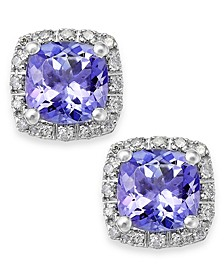 Tanzanite (1-5/8 ct. t.w.) and Diamond (1/8 ct. t.w.) Square Stud Earrings in 14k White Gold