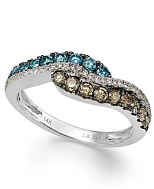 Chocolate, Blue and White Diamond Ring in 14k White Gold (5/8 ct. t.w.)