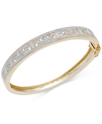 Diamond Accent Greek Key Bangle Bracelet in 18k Gold over Sterling