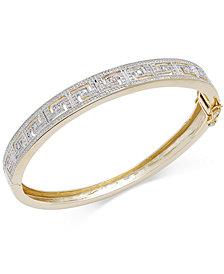 Diamond Accent Greek Key Bangle Bracelet in Fine Silver Plated Brass