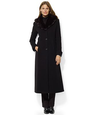 Lauren Ralph Lauren Faux-Fur-Collar Wool-Cashmere-Blend Maxi Coat ...