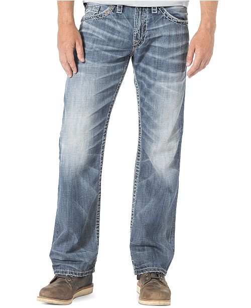 Silver Jeans Co Mens Zac Relaxed Fit Straight Jeans Jeans Men
