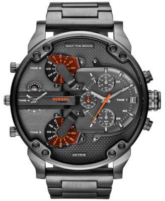 Men's Mr. Daddy 2.0 Gunmetal-Tone Stainless Steel Bracelet Watch 66x57mm DZ7315