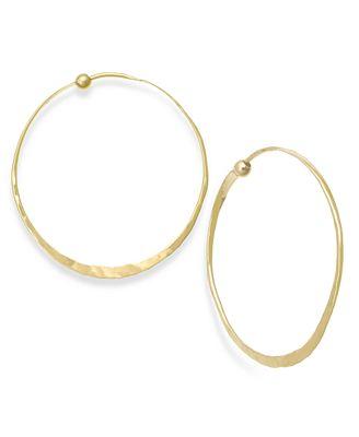 Macy S Hammered Hoop Earrings In 14k Gold Earrings Jewelry