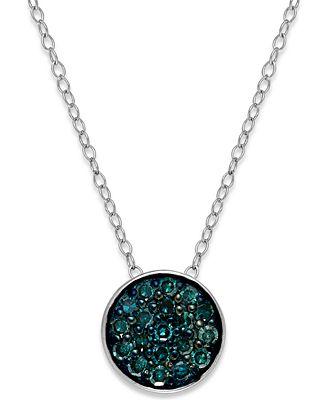 Blue diamond round pendant necklace in sterling silver 14 ct blue diamond round pendant necklace in sterling silver 14 ct tw aloadofball Image collections