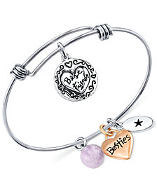 Unwritten Best Friends Charm and Amethyst (8mm) Bangle Bracelet in Stainless Steel