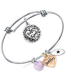 Unwritten Best Friends Charm and Amethyst (8mm) Bangle Bracelet in Stainless Steel