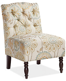 Charlotte Floral Fabric Accent Chair, Quick Ship